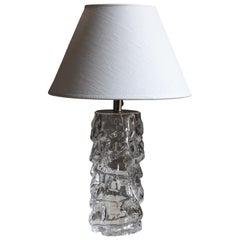 Reijmyre Glasbruk, Organic Table Lamp, Metal, Glass, Fabric, Sweden, 1940s