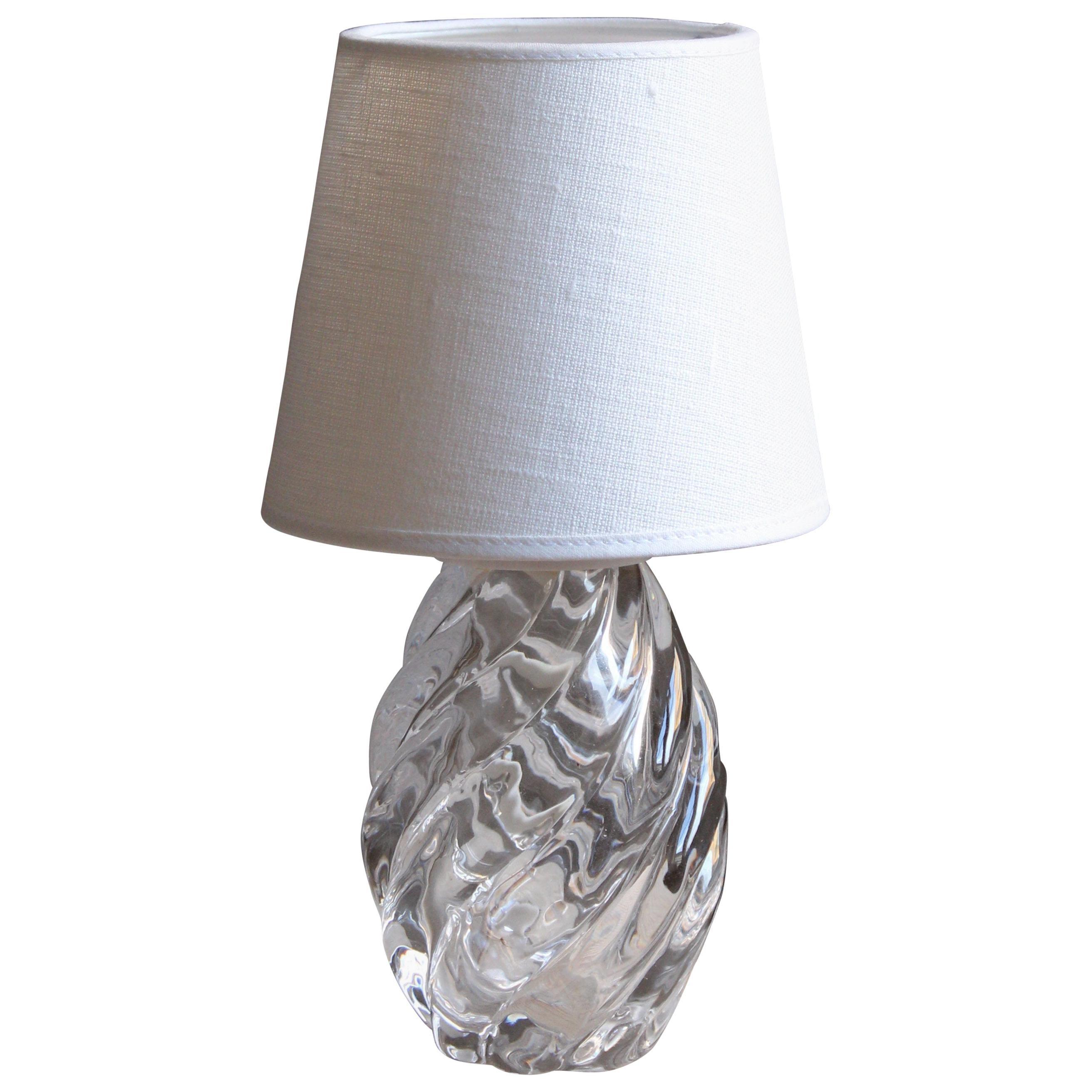 Reijmyre Glasbruk, Organic Table Lamp, Metal, Glass, Fabric, Sweden, 1950s