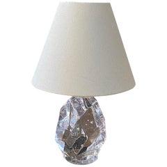 Reijmyre Glasbruk, Small Organic Table Lamp, Metal, Glas, Fabric, Sweden, 1940s
