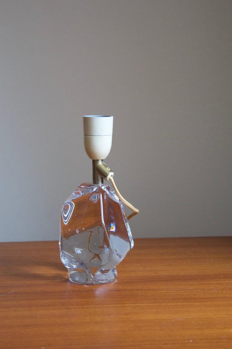 Scandinavian Modern Reijmyre Glasbruk, Table Lamp, Metal, Glass, Linen, Sweden, 1950s For Sale