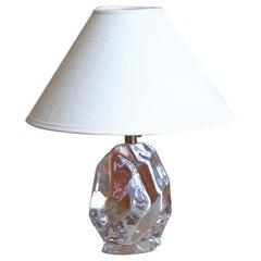 Reijmyre Glasbruk, Table Lamp, Metal, Glass, Linen, Sweden, 1950s