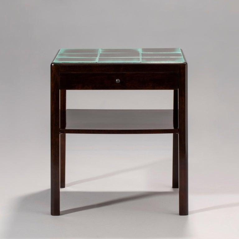 Reiners Möblefabrik, Swedish Art Deco Ebonized Birch & Turquoise Tile-Top Table In Good Condition For Sale In Philadelphia, PA