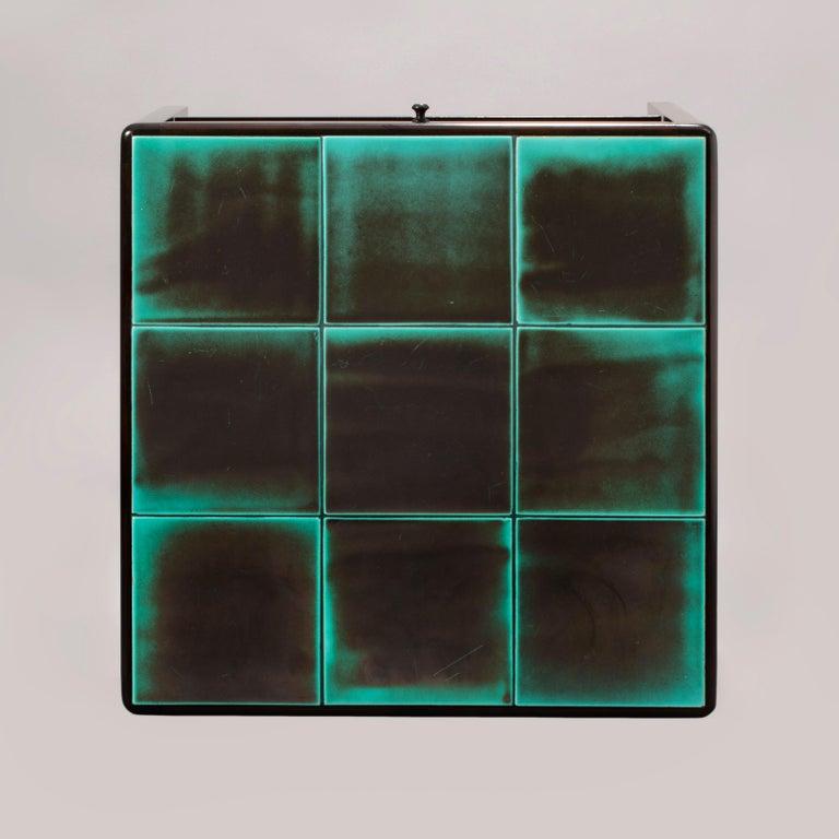 20th Century Reiners Möblefabrik, Swedish Art Deco Ebonized Birch & Turquoise Tile-Top Table For Sale