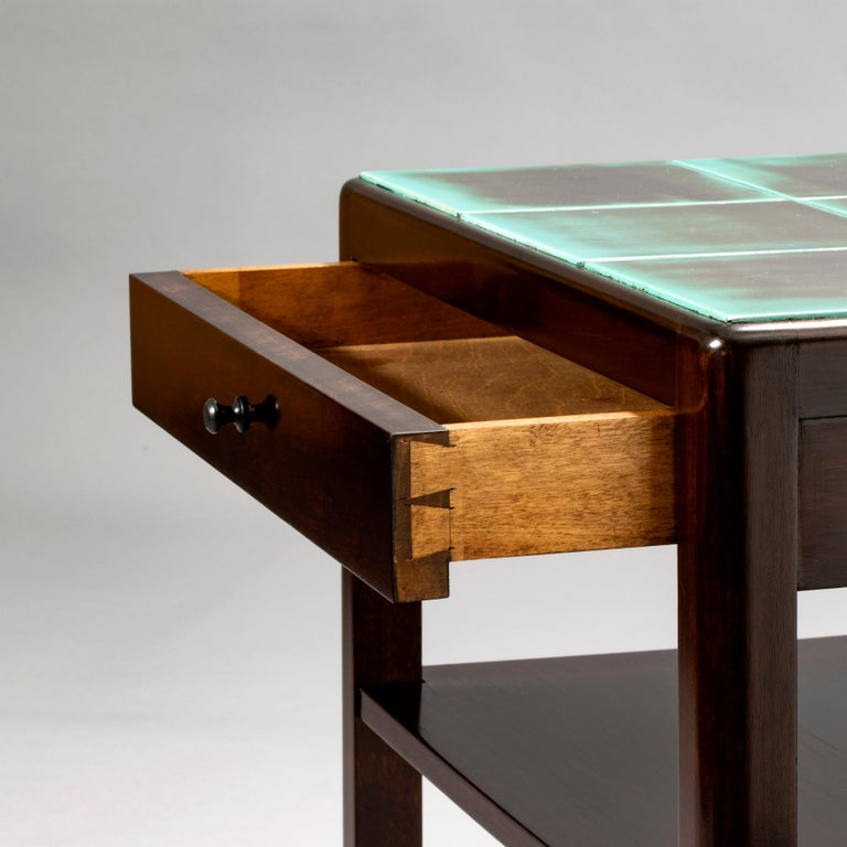 Ceramic Reiners Möblefabrik, Swedish Art Deco Ebonized Birch & Turquoise Tile-Top Table For Sale