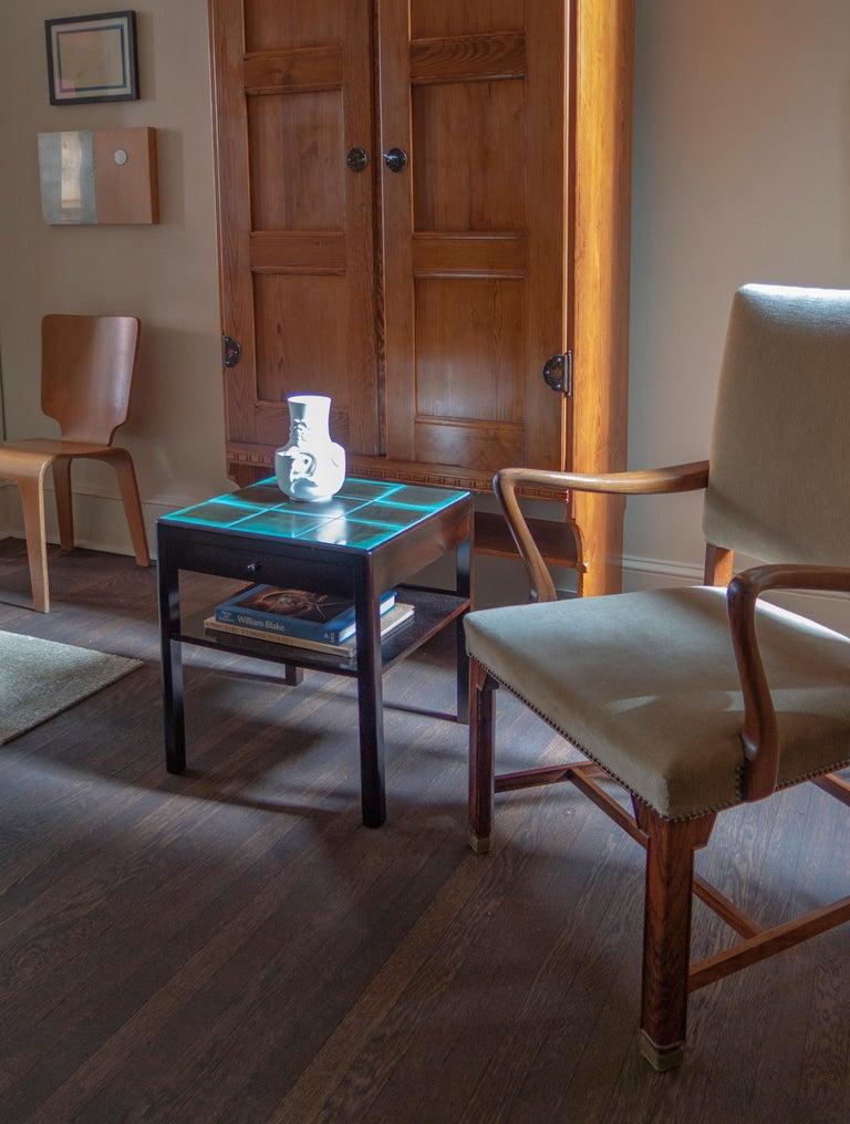 Reiners Möblefabrik, Swedish Art Deco Ebonized Birch & Turquoise Tile-Top Table For Sale 1