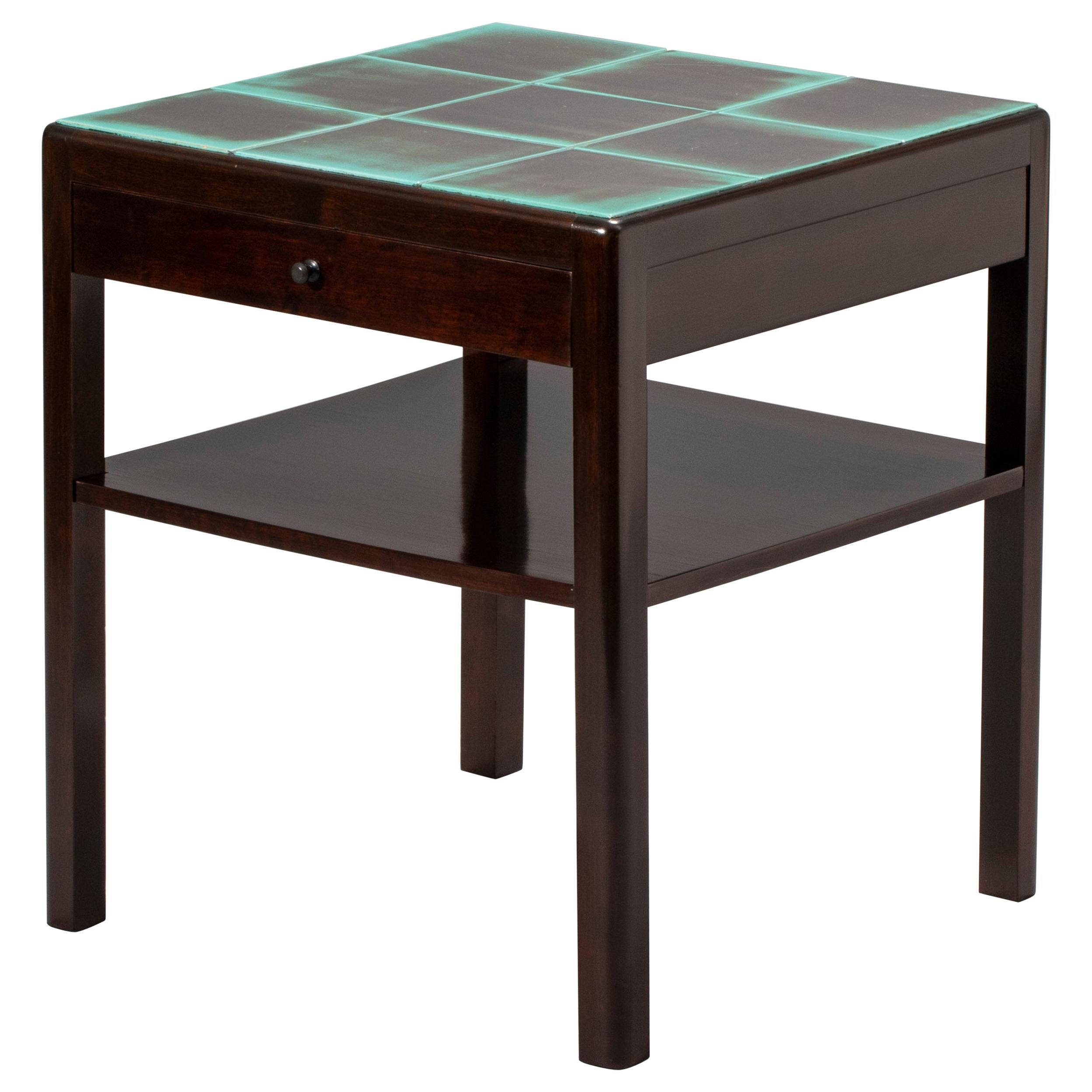 Reiners Möblefabrik, Swedish Art Deco Ebonized Birch & Turquoise Tile-Top Table