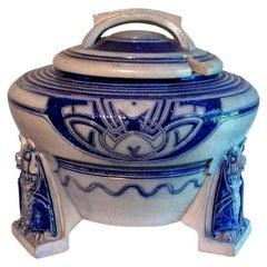 Reinhold Hanke German Jugendstil Stoneware Soup Tuereen, circa 1904
