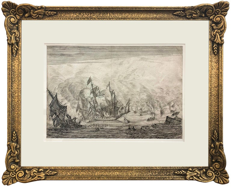 Navel Battle with an English Ship. Foundering on the Left, from Naval Battle - Print by Reinier Nooms Zeeman
