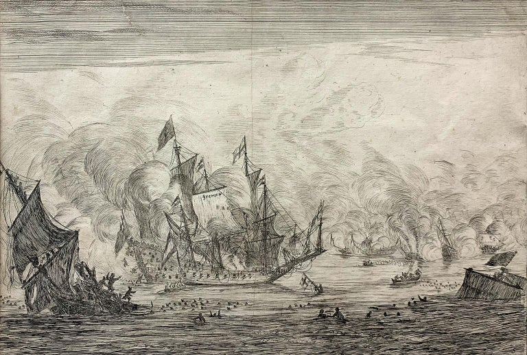 Reinier Nooms Zeeman Landscape Print -   Navel Battle with an English Ship. Foundering on the Left, from Naval Battle