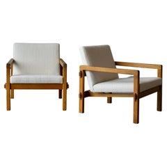 "Reino Ruokolainen, ""Stugo"" Lounge Chairs, Stained Oak, Fabric, Sweden, 1959"