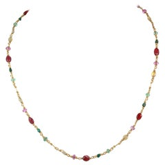 Reinstein Ross, Isabella Necklace 20K Gold with Rubies, Emerald and Tourmalines