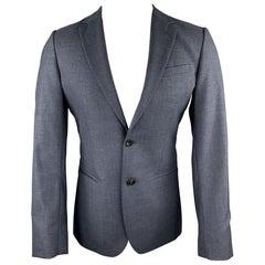 REISS Size 36 Short Blue Wool Notch Lapel Suit