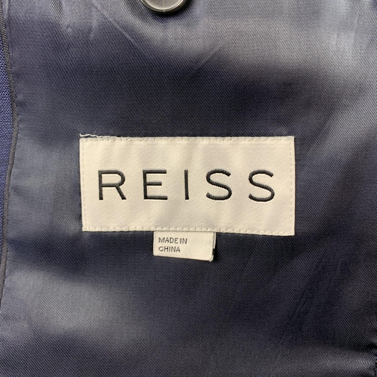 REISS Size 36 Short Navy Wool Notch Lapel Suit For Sale 3