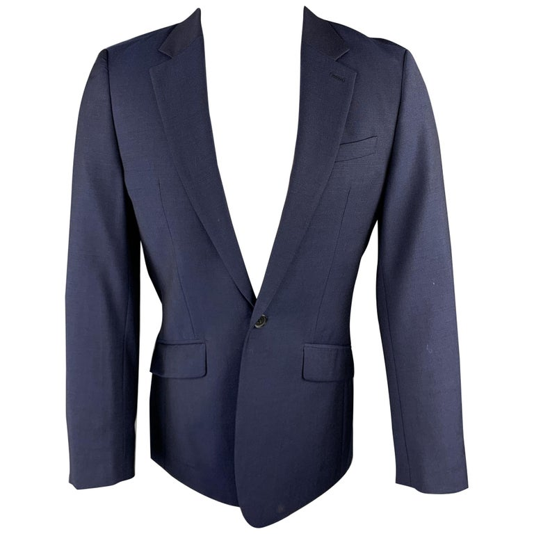 REISS Size 36 Short Navy Wool Notch Lapel Suit For Sale