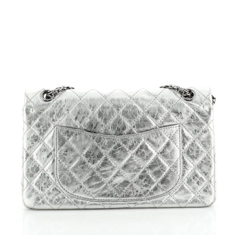 Women's or Men's Reissue 2.55 Flap Bag Quilted Metallic Aged Calfskin 226 For Sale