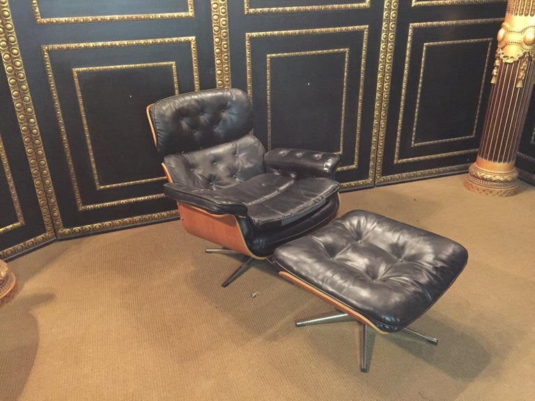 Leather Relax, Lounge Armchairs with Stool Vintage, Eames Style Made in Germany For Sale