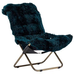 Relax Sheepskin Folding Armchair in Brass Frame