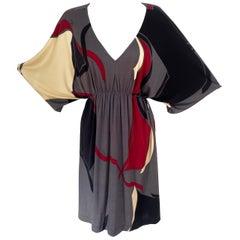 Relaxed cool Boho Mini Caftan in silk jersey Flora Kung BIBI gray NWT
