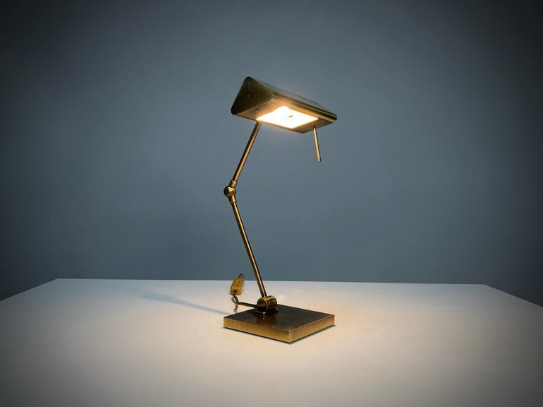 Mid-Century Modern Relco Milano Midcentury Brass Table Lamp, 1970s, Italy For Sale