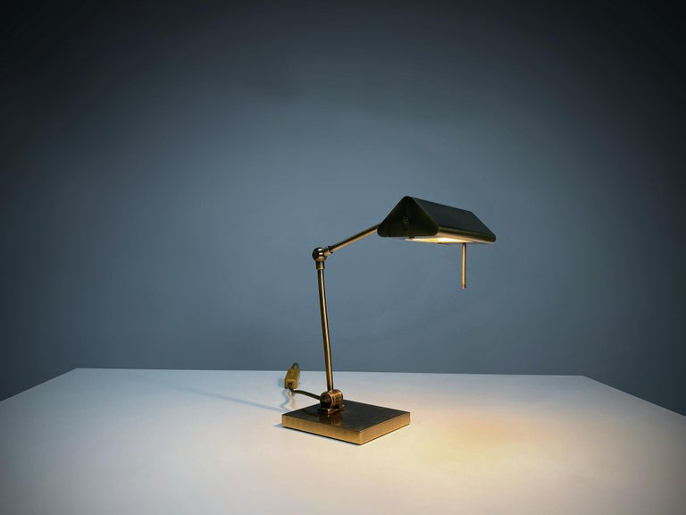 Italian Relco Milano Midcentury Brass Table Lamp, 1970s, Italy For Sale