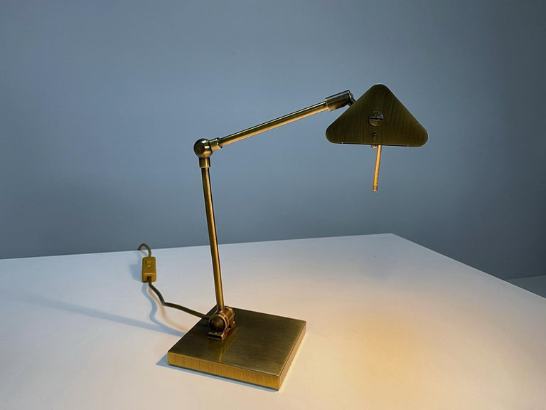 Late 20th Century Relco Milano Midcentury Brass Table Lamp, 1970s, Italy For Sale
