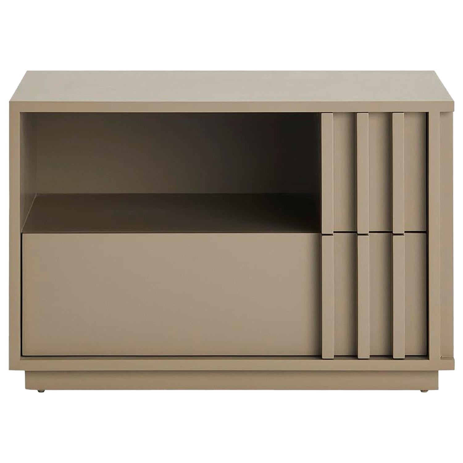 Relevo Nightstand with Two Drawers in Lacquered Structure