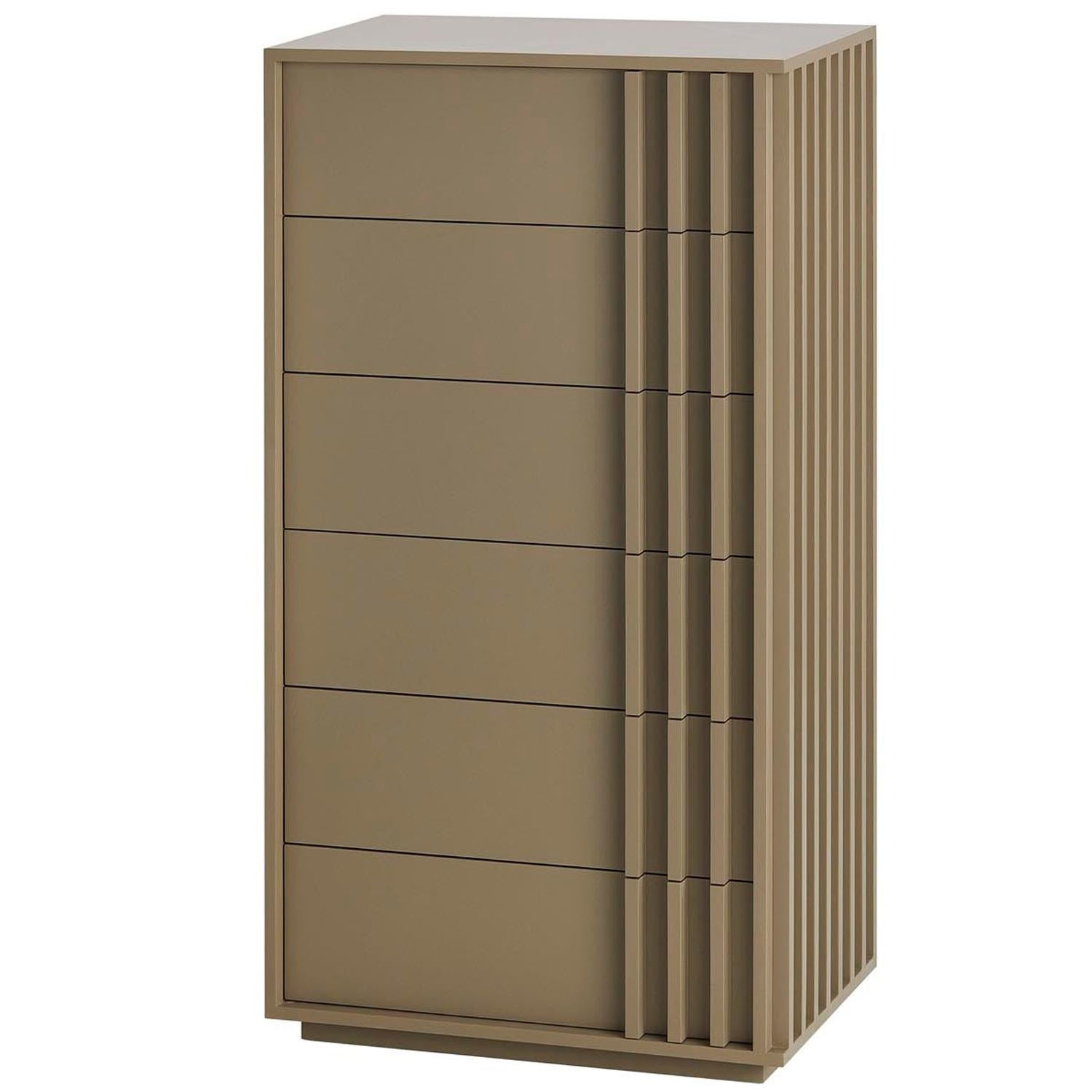 Relevo Tallboy Glossy Lacquered with Six Drawers
