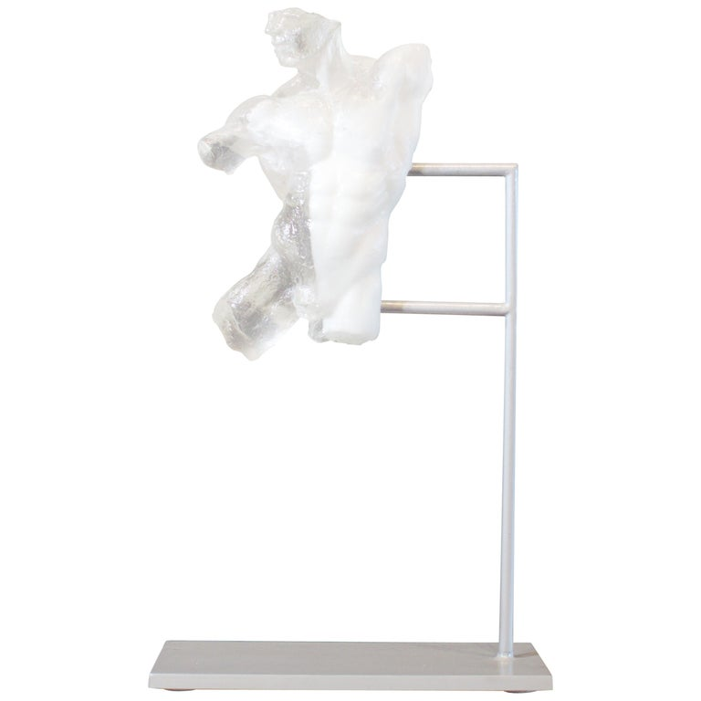 Relic, Classical Male Nude Torso Fragment in Crystal Clear and White Resin For Sale