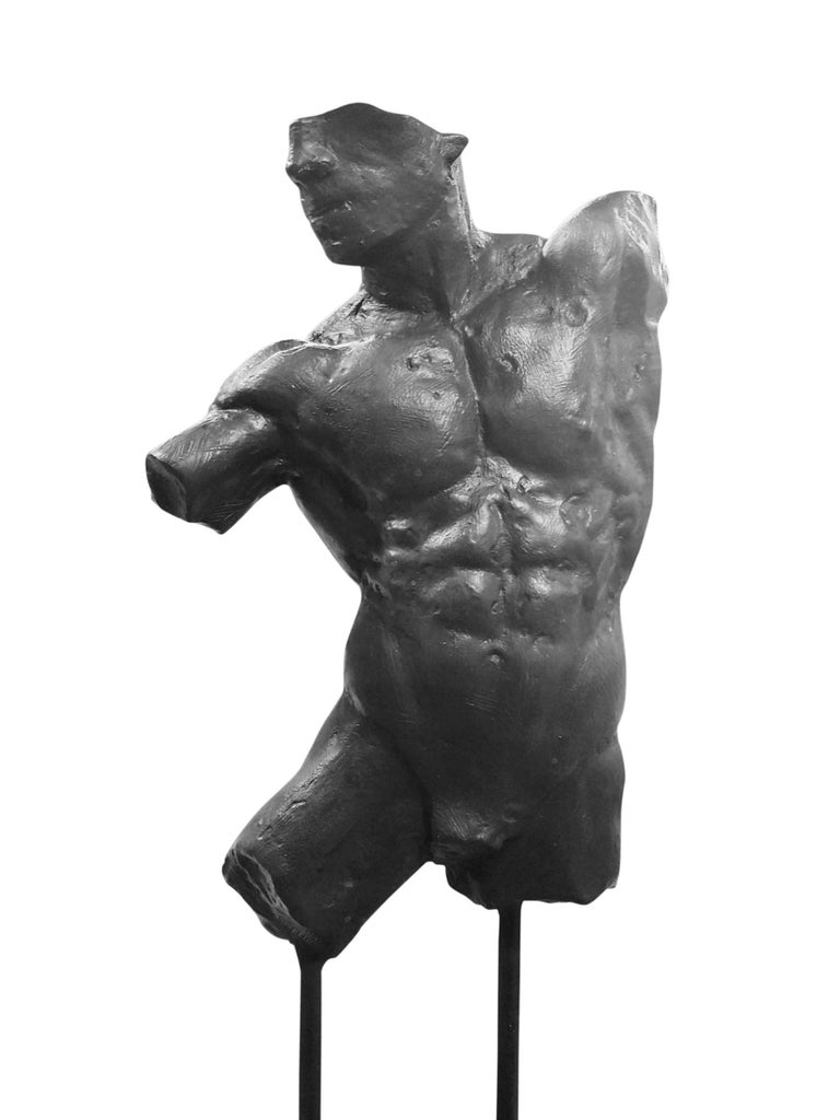 This is an extraordinary bronze sculpture of a Classic male nude fragment by artist Dean Kugler. Attention to detail and complete understanding of the human figure are evident. The sculpture is beautifully custom mounted on a steel and stone