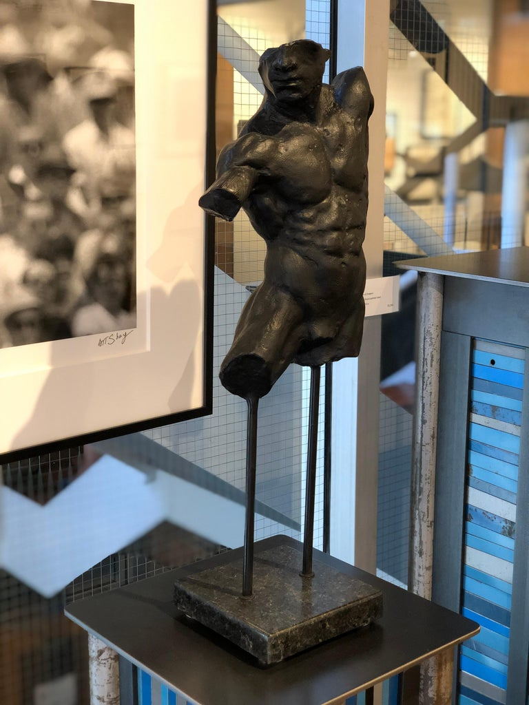 American Relic, Classical Male Nude Torso Fragment Sculpted in Bronze with Black Patina For Sale