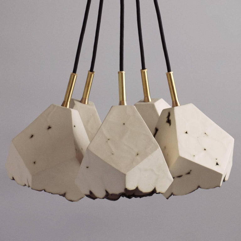 Geometric Brass Chandelier: Relic Cluster 5, Geometric White Porcelain And Brass