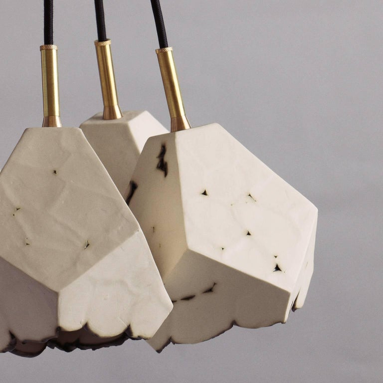 American Relic Cluster 5, Geometric White Porcelain and Brass Chandelier For Sale