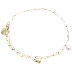 Jacqueline Rose Relic Coin, Pearl and Drop Link Chain Necklace