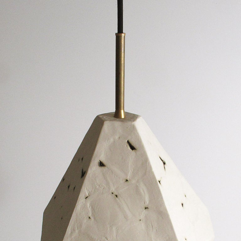 American Relic Extra Large Geometric White Porcelain and Brass Modern Pendant Lamp For Sale