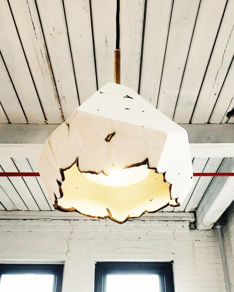 Relic Extra Large Geometric White Porcelain and Brass Modern Pendant Lamp In New Condition For Sale In Bronx, NY