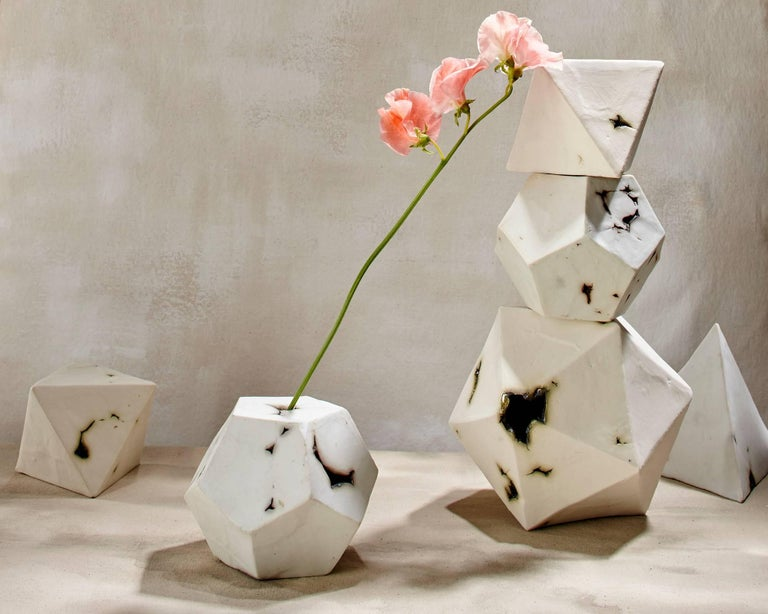 Modern Relic Icosahedron, Geometric White Porcelain Ceramic Small Sculptural Object For Sale