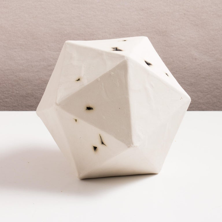 American Relic Icosahedron, Geometric White Porcelain Ceramic Small Sculptural Object For Sale