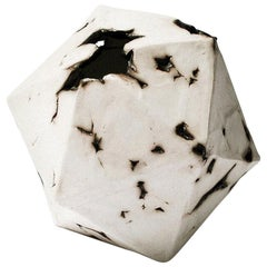 Relic Icosahedron, Geometric White Porcelain Ceramic Small Sculptural Object