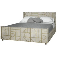 Relief Work Bed in Shagreen and Bronze Patina Brass by R&Y Augousti