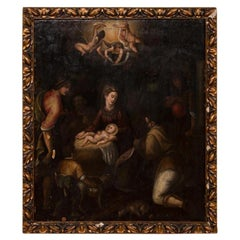 Religious Antique Oil on Wood Panel Painting of the Nativity