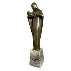 Religious Art Deco Fine Bronze Mary and Child Sculpture Mounted on an Onyx Base