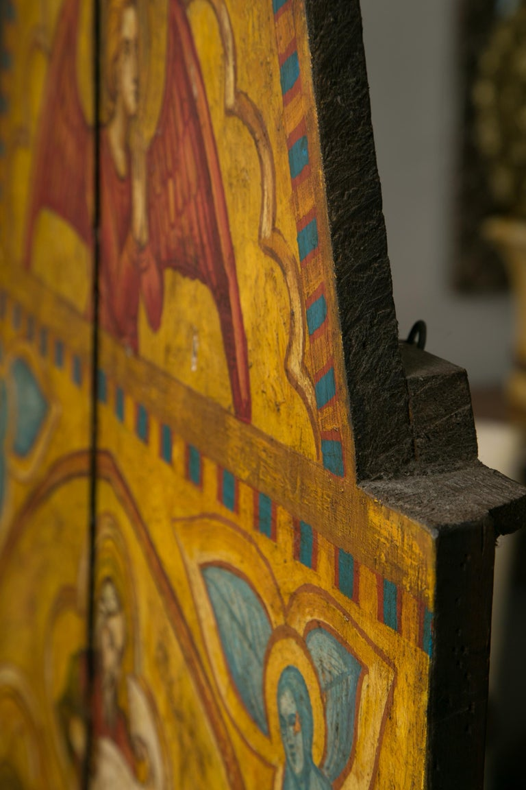 Italian Religious Icon Painted on Board For Sale