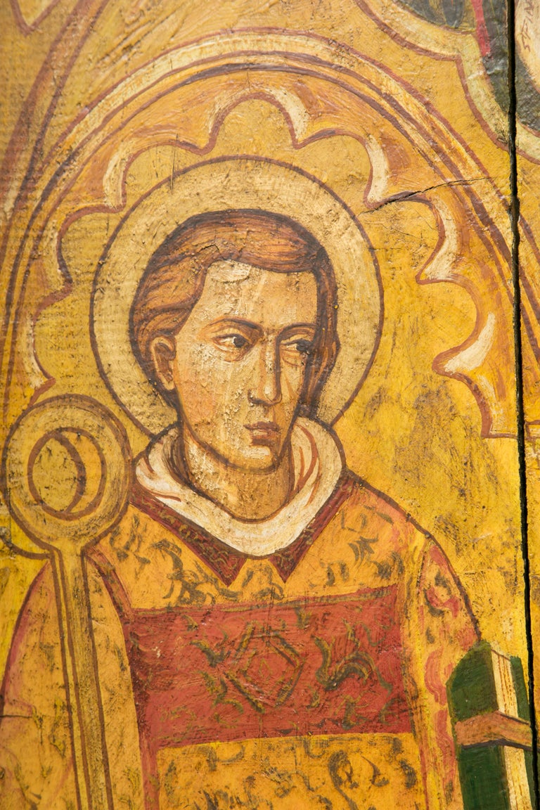 19th Century Religious Icon Painted on Board For Sale
