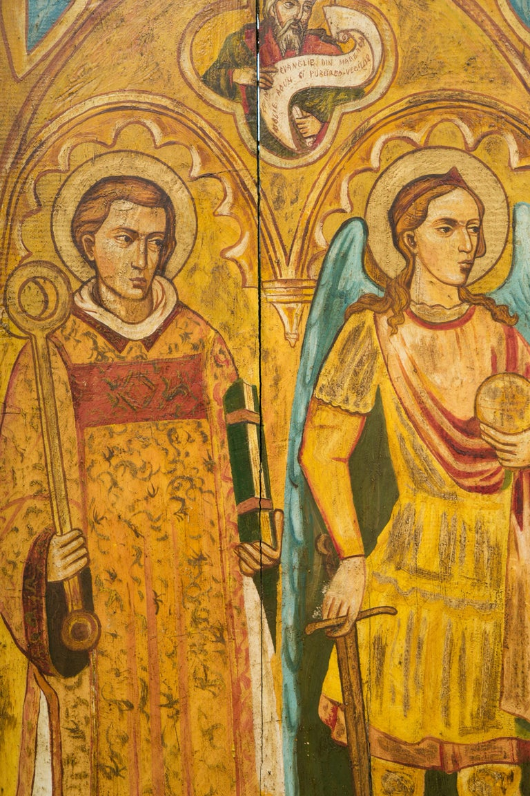 Wood Religious Icon Painted on Board For Sale