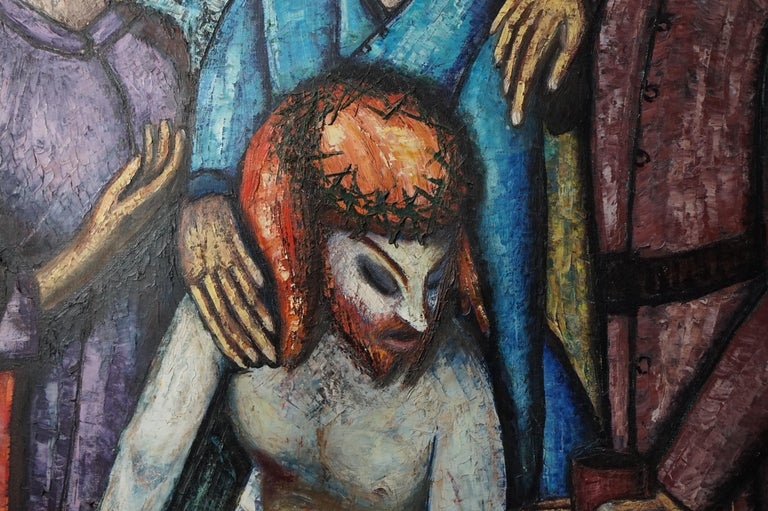 Mid-Century Modern Religious Painting of Jesus by JF Bauwens, Belgium, 1950s For Sale