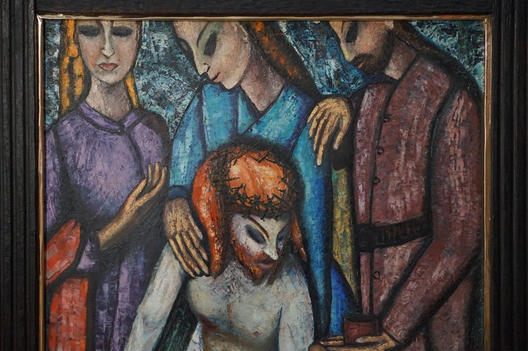 Hand-Painted Religious Painting of Jesus by JF Bauwens, Belgium, 1950s For Sale
