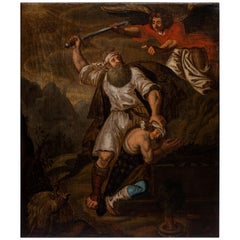 Religious Painting Oil on Canvas 17th Century Sacrifice of Isaac