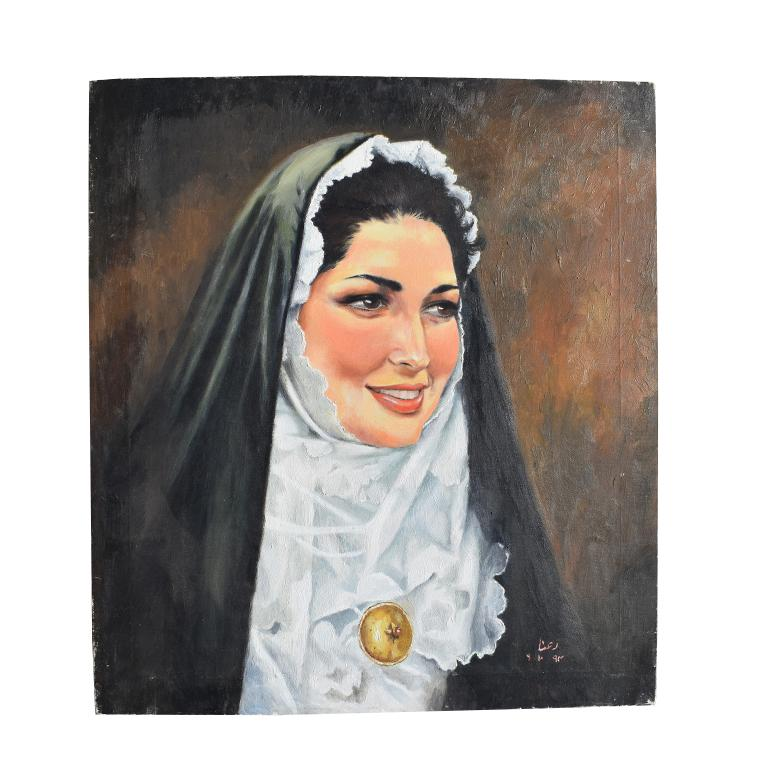 Religious Portrait Painting Oil on Canvas of Catholic Nun in Habit Veil and Coif For Sale 1