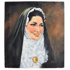 Religious Portrait Painting Oil on Canvas of Catholic Nun in Habit Veil and Coif