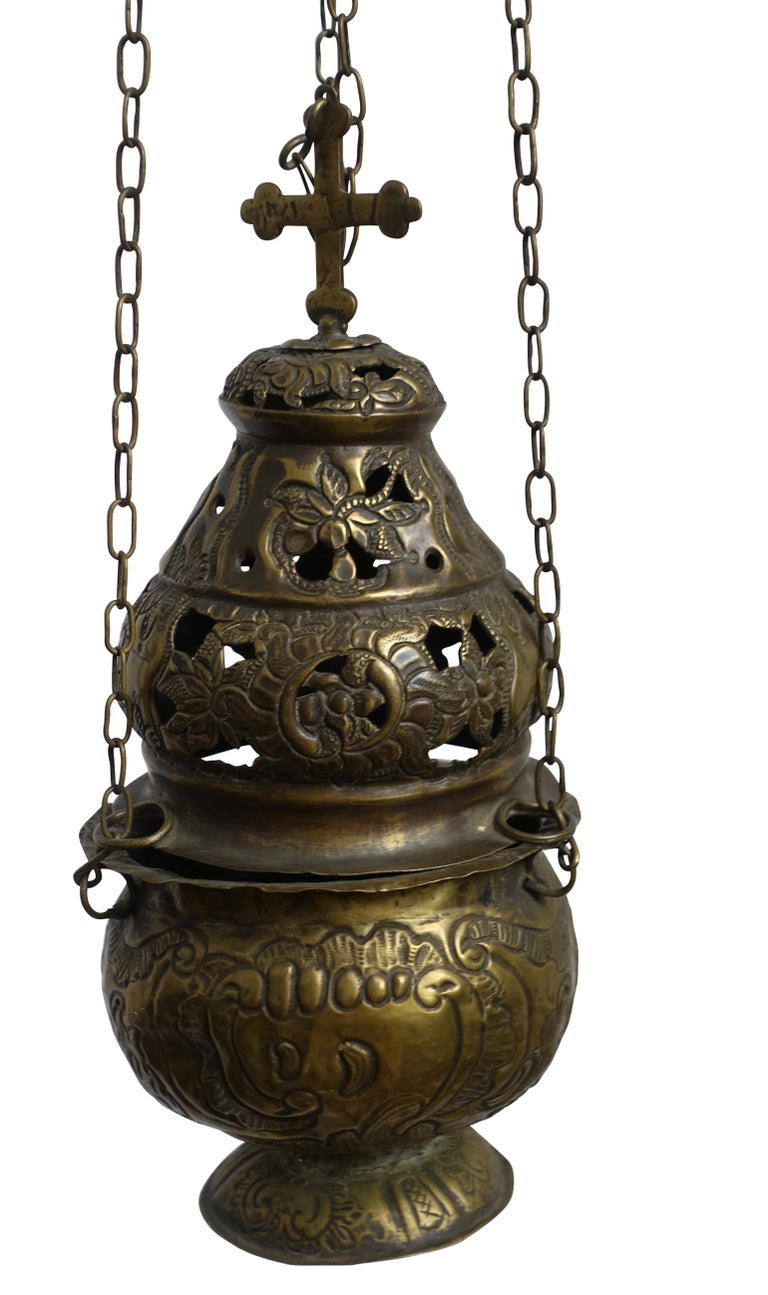Repoussé Religious Repousse Brass Hanging Incense Burner, Spanish Colonial, 19th Century For Sale
